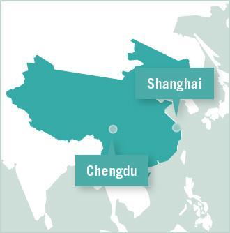Carte des missions de volontariat en Chine