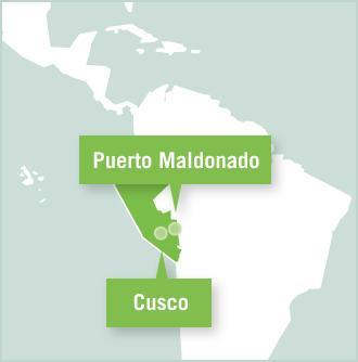 Carte des missions de volontariat au Pérou